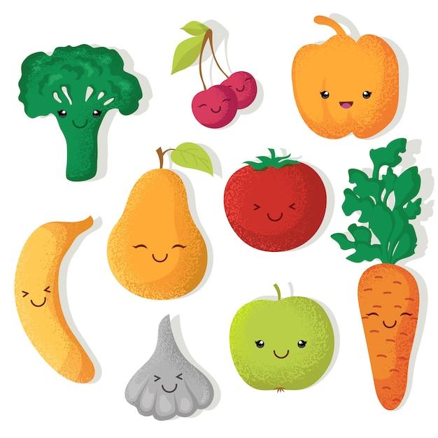 Desenhos animados engraçados frutas e legumes caracteres vetoriais Vetor Premium