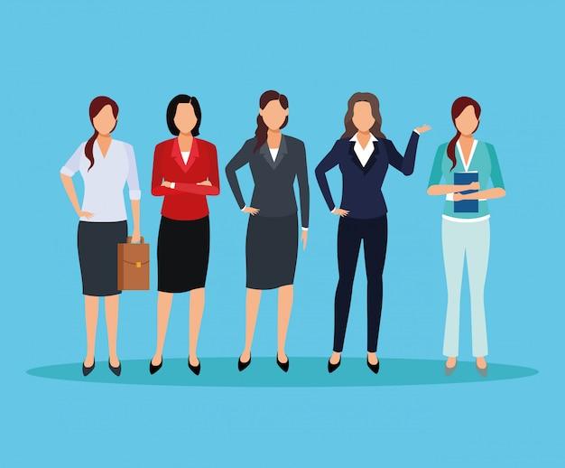 Desenhos animados executivos das mulheres Vetor Premium