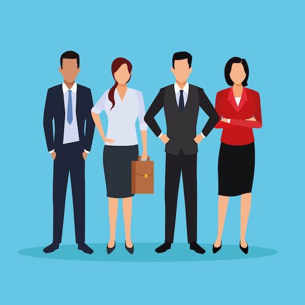 Desenhos animados executivos masculinos Vetor Premium