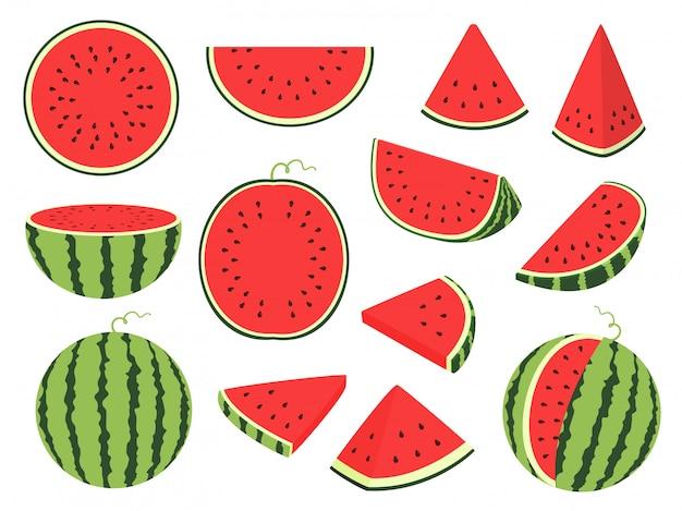 Desenhos animados fatia de melancia. baga listrada verde com polpa vermelha e ossos marrons, frutas cortadas e picadas, metade e fatiada em fundo branco Vetor Premium
