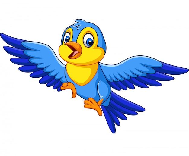 Desenhos Animados Feliz Passarinho Voando Vetor Premium
