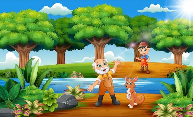 Desenhos animados feliz velho fazendeiro e pequeno agricultor com cão no parque Vetor Premium