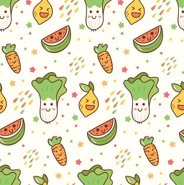Desenhos animados frutas e legumes kawaii padrão sem emenda Vetor Premium