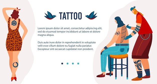 Desenhos animados homem mulher tatuada personagens hipster visitam salão de beleza Vetor Premium