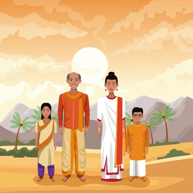 Desenhos animados indianos da índia da família Vetor Premium