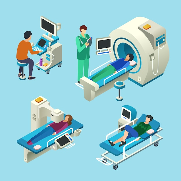 Desenhos animados isométricos de scanner de ressonância magnética de médico e pacientes no exame médico de exame de ressonância magnética Vetor grátis
