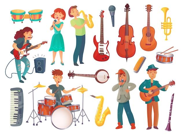 Desenhos animados jovens cantores femininos e masculinos com microfones e personagens músicos com instrumentos musicais Vetor Premium