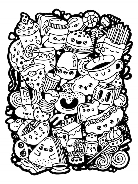 Desenhos animados kawaii doodle personagens fofinhos. comida deliciosa conjunto mão preto e branco desenhado para colorir. Vetor Premium
