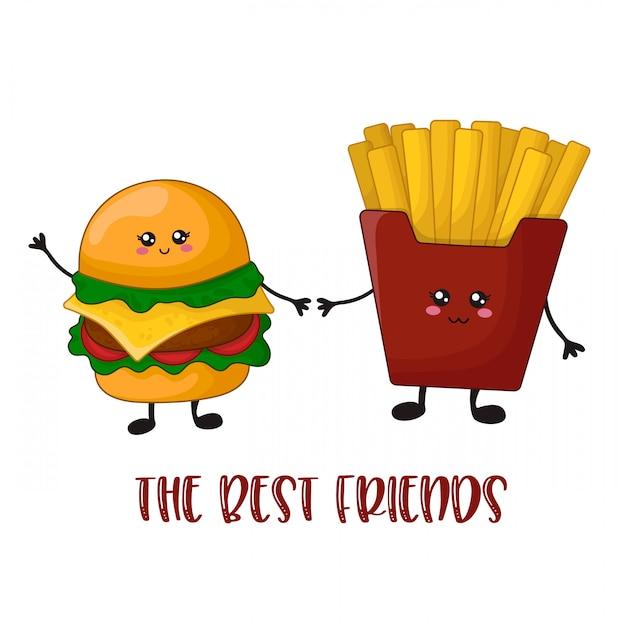 Desenhos animados kawaii fast food - hambúrguer e batatas fritas Vetor Premium