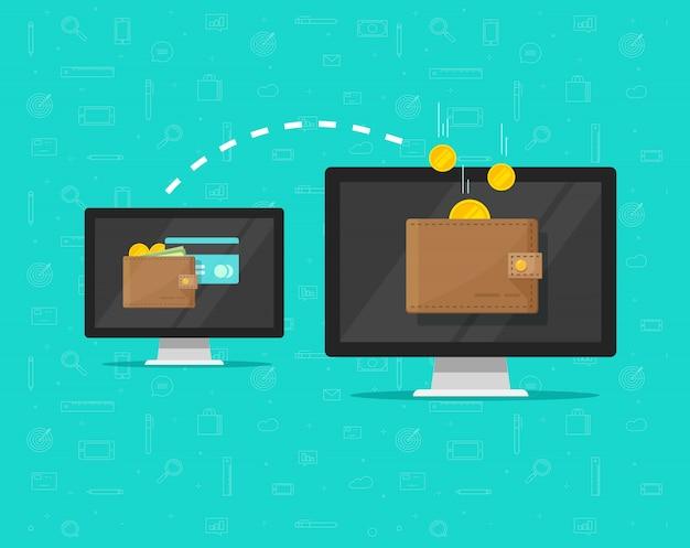 Desenhos animados lisos em linha de transferência de dinheiro eletrônico Vetor Premium