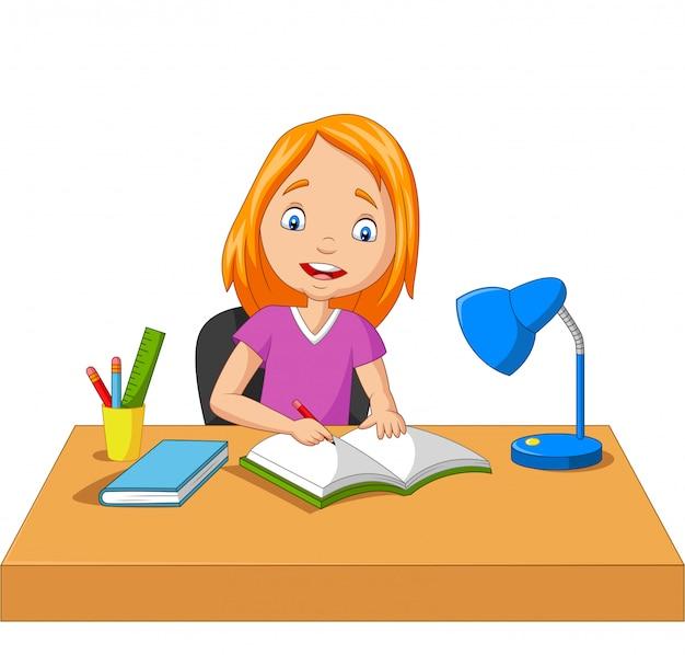 Desenhos Animados Menina Estudando E Escrevendo Vetor Premium