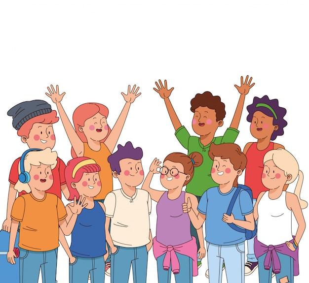 Desenhos animados meninos e meninas adolescentes Vetor grátis