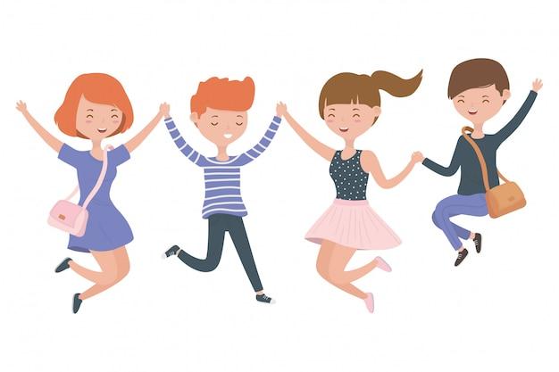 Desenhos animados meninos e meninas de adolescente Vetor grátis
