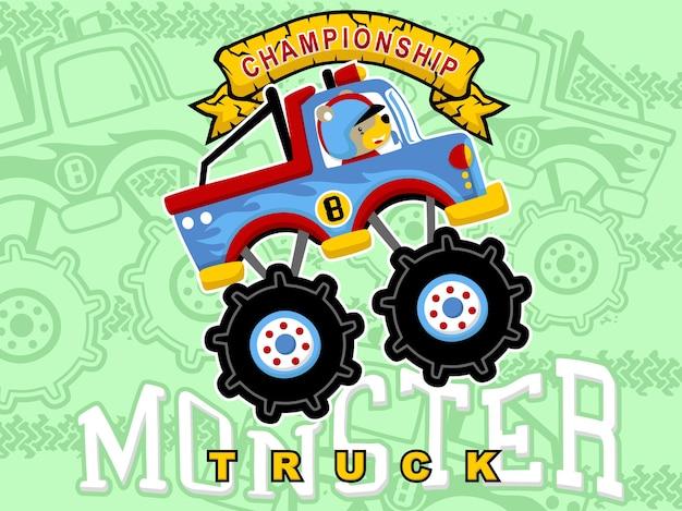 desenhos animados monster truck com motorista de animais baixar