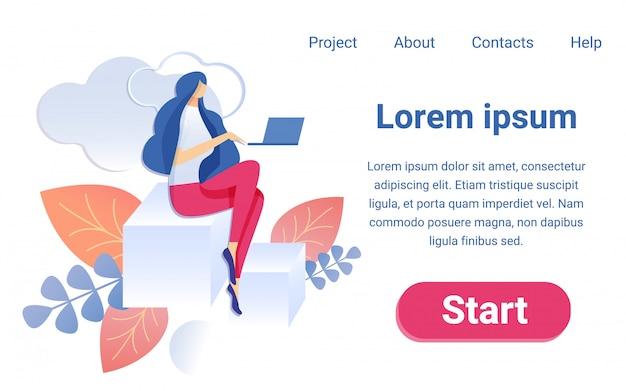 Desenhos animados mulher trabalhando notebook sentar no gráfico de barras Vetor Premium