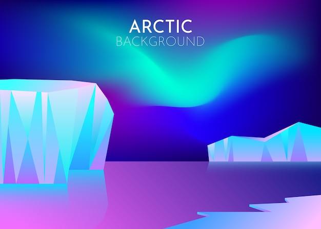 Desenhos animados natureza inverno paisagem de gelo ártico com iceberg, colinas de montanhas de neve. noite polar com luzes do norte da aurora boreal. fundo abstrato. estilo minimalista. conceito. Vetor Premium