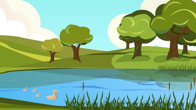 Desenhos animados paisagem pacífica vista do rio shore bank Vetor Premium