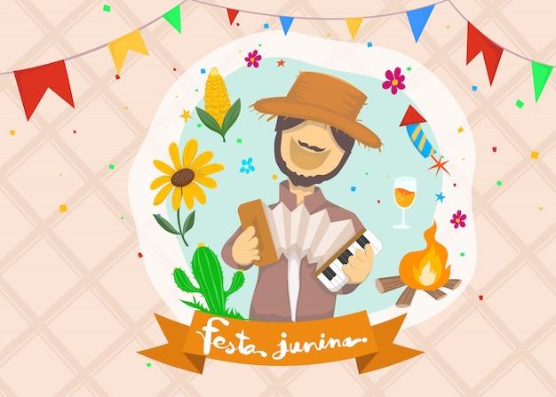 Desenhos animados para festa junina festival da aldeia em latim Vetor Premium