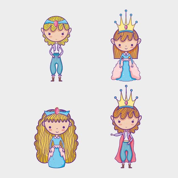 Desenhos Animados Princesa E Princesa Vetor Premium