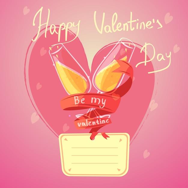 Desenhos animados retrô de dia dos namorados com taças de champanhe e coração em fundo Vetor grátis