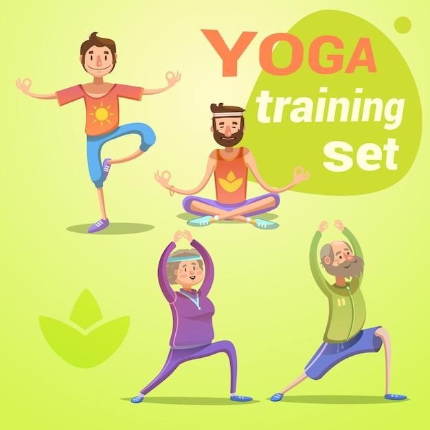 Desenhos animados retrô de ioga com jovens e idosos em diferentes poses isolaram ilustração vetorial Vetor Premium