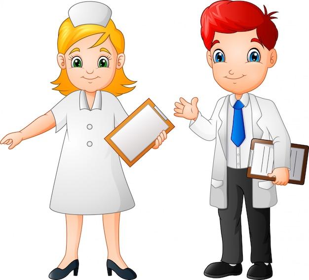 Desenhos animados sorridente médico e enfermeiro Vetor Premium
