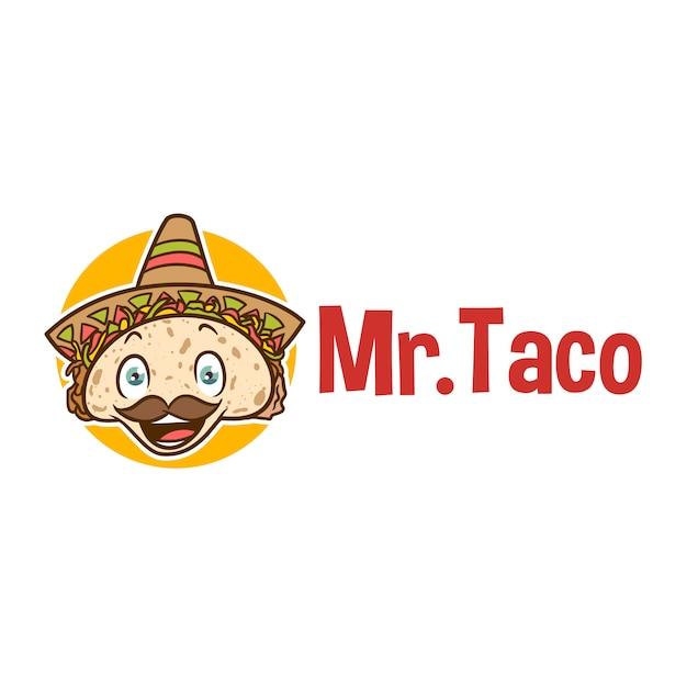 Desenhos animados sorrindo logotipo de mascote de taco Vetor Premium