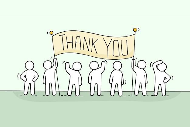 Desenhos animados trabalhando pessoas pequenas com a frase obrigado. Vetor Premium