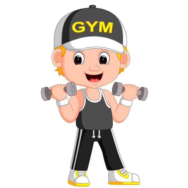 Desenhos Animados Um Homem Exercitar Com Halteres Vetor Premium