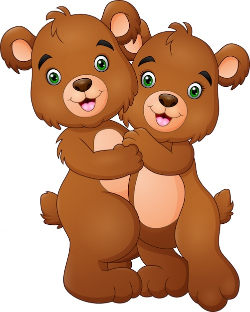 Desenhos Animados Urso Feliz Casal Abracando Vetor Premium