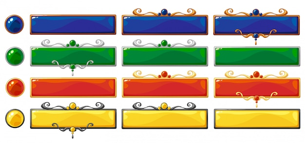 Desenhos animados vetor título bandeiras coloridas definidas para design de jogos de fantasia. molduras de classificação em bronze, prata e ouro com pedras preciosas. Vetor Premium
