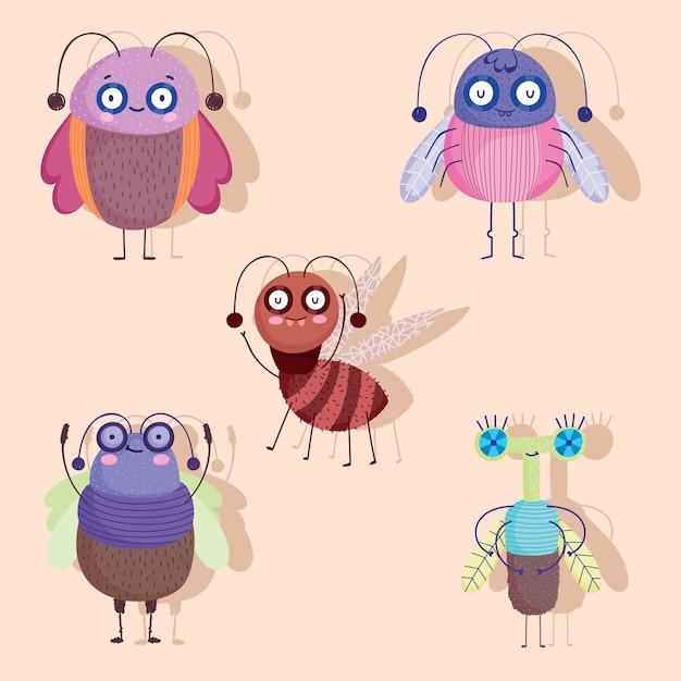 Desenhos de animais engraçados insetos com ilustração do conjunto de ícones de sombra Vetor Premium