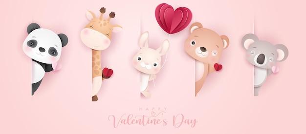 Desenhos de animais fofos para o dia dos namorados em estilo de papel Vetor Premium