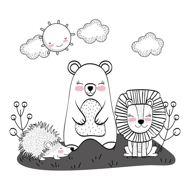 Desenhos de animais selvagens Vetor Premium