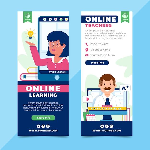 Desenhos de banners de aprendizagem online Vetor Premium
