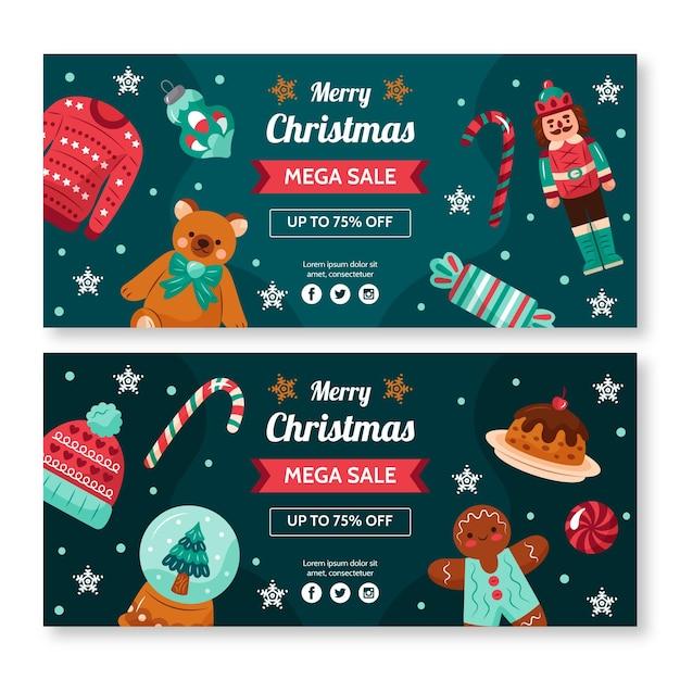 Desenhos de banners de venda de natal Vetor grátis