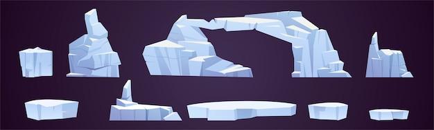 Desenhos de blocos de gelo, pedaços de icebergs congelados, geleiras de diferentes formatos Vetor grátis