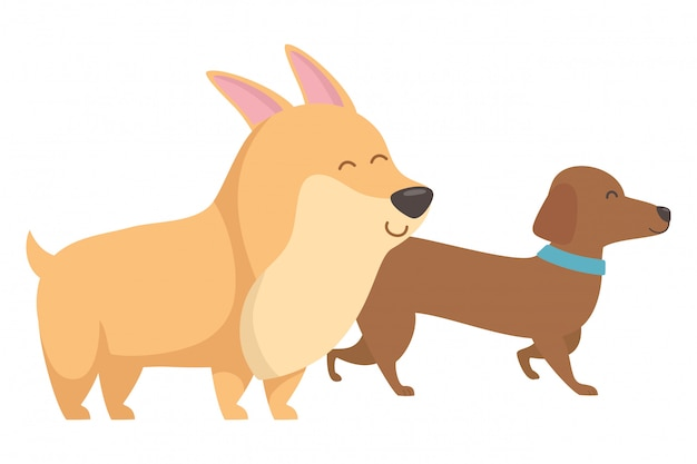 Desenhos de cães Vetor grátis