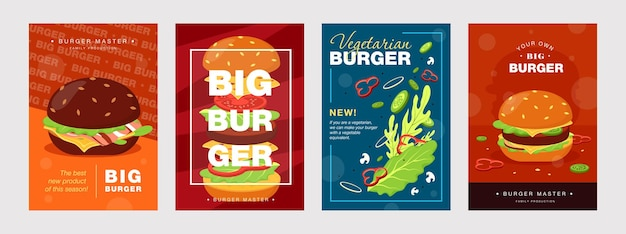 Desenhos de cartaz da moda com hambúrguer e ingredientes. brochuras vivas para cafés ou restaurantes de fast food. Vetor grátis