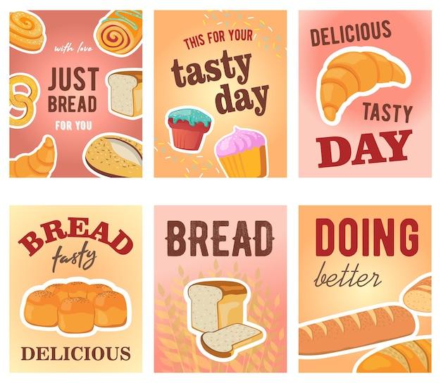 Desenhos de cartões de dia saborosos com pão e muffins Vetor grátis