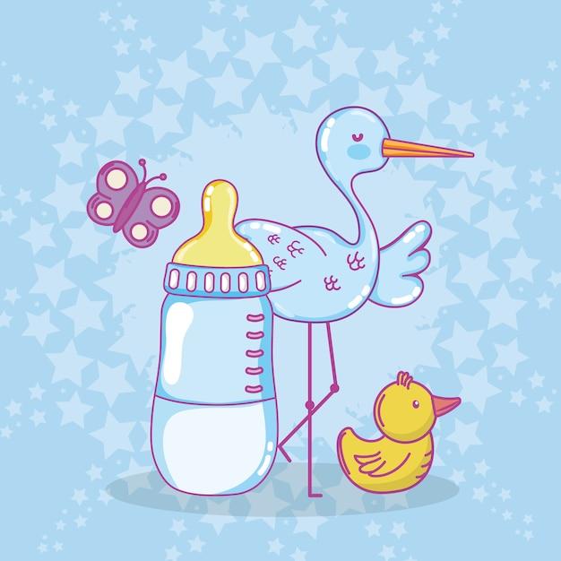 Desenhos de chuveiro de bebê Vetor Premium