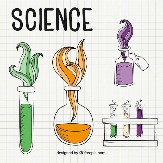 Desenhos De Ciência Em Uma Folha De Caderno Vetor Grátis