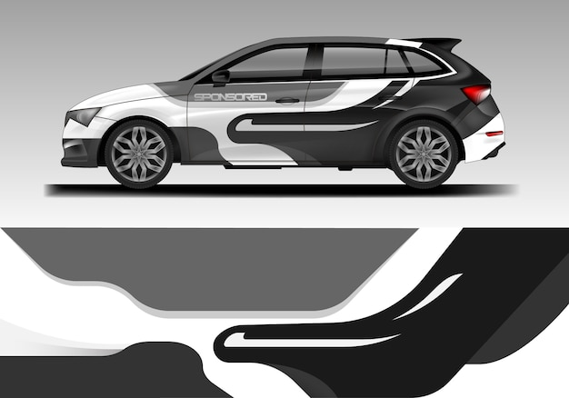 Desenhos de envoltório de carro Vetor Premium