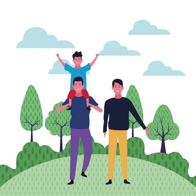 Desenhos de família e crianças Vetor Premium