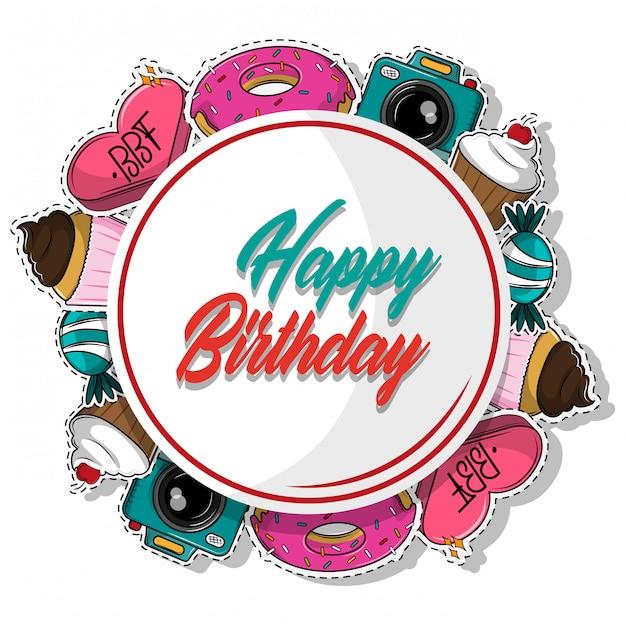 Desenhos de feliz aniversário Vetor Premium