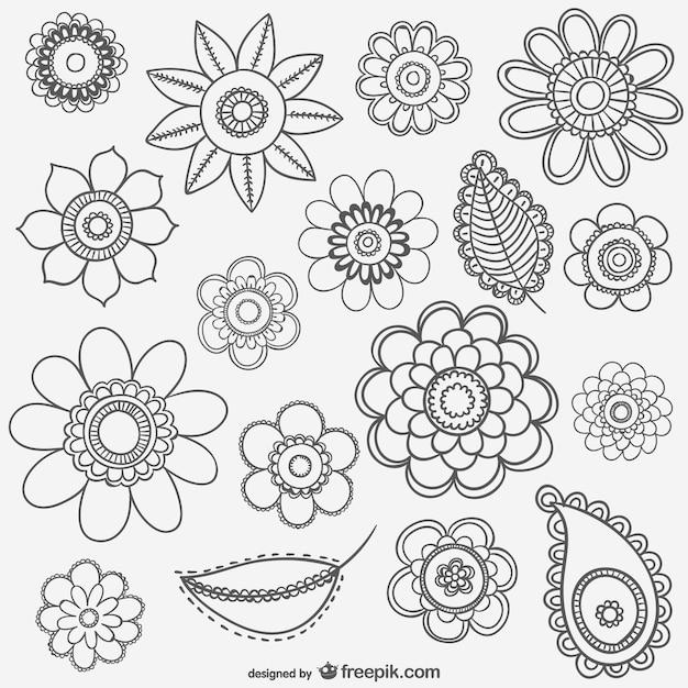 Desenhos De Flores Em Preto E Branco Vetor Grátis