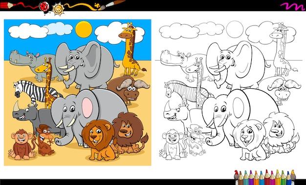 Desenhos de grupo de personagens animais safari Vetor Premium
