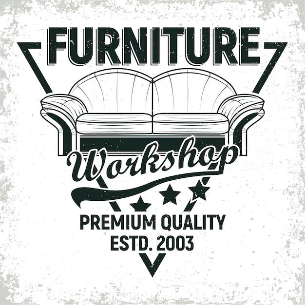 Desenhos de logotipo de oficina de móveis vintage Vetor Premium