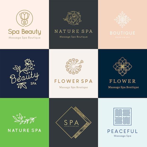 Desenhos de logotipo floral editável feminino para o conceito de beleza e bem-estar Vetor Premium