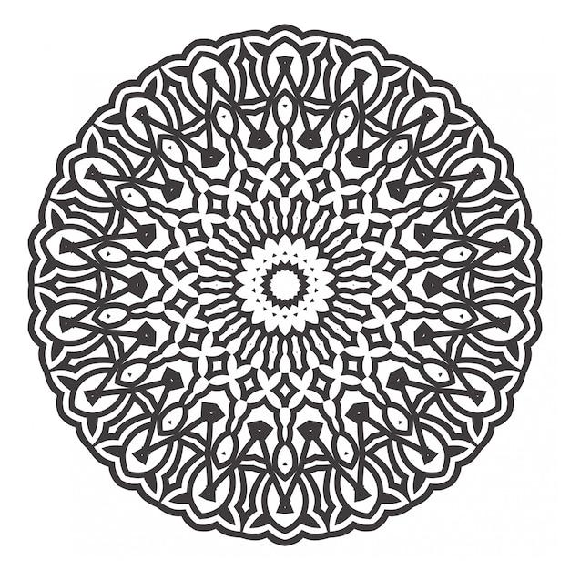Desenhos de mandalas preto e branco Vetor Premium